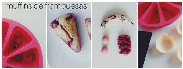 muffins de frambuesa y plátano