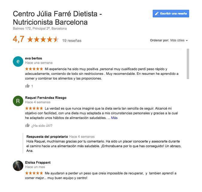 opiniones nutricionista Júlia Farré