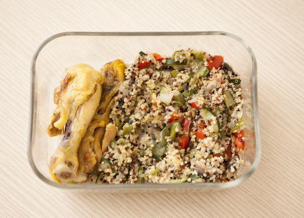 fiambrera de pollo con verduras