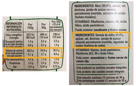 etiquetado de cereales azucarados