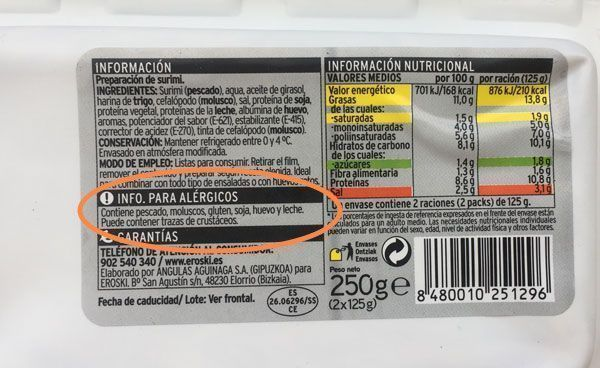 marcado de alérgenos en etiqueta