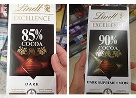 chocolate 85% y chocolate 90%