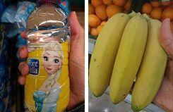 agua y plátano