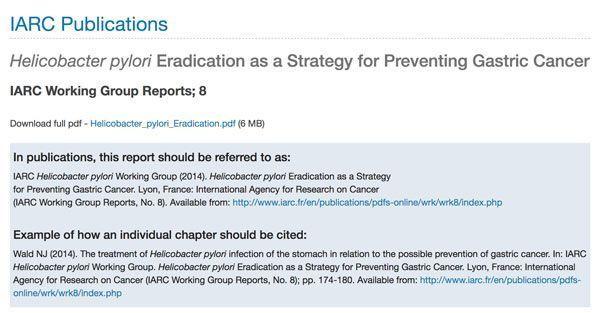 IARC Publicación sobre prevención del cáncer gástrico por helicobacter