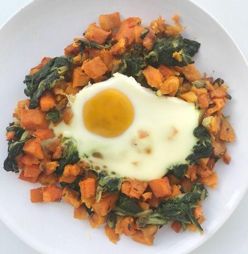 plato de boniato con huevo