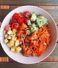 idea de comida rapida poke bowl