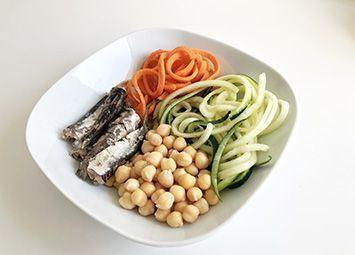 plato de calabacín con garbanzos y sardinas como cena